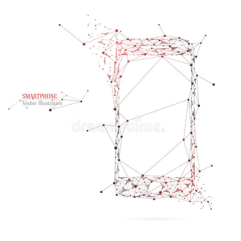 Abstract image of a smartphone from lines and triangles royalty free stock photography