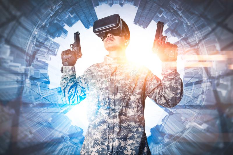 The abstract image of the soldier use a VR glasses for combat simulation training overlay with the polar coordinates city image. The concept of virtual stock images