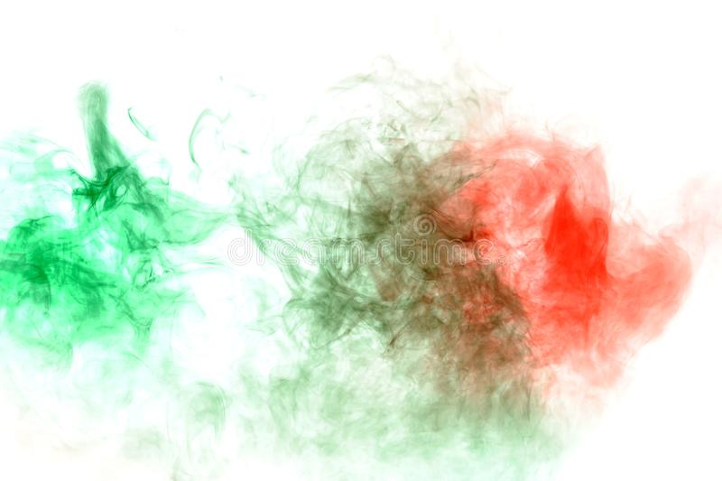 Image of the soul, a spot of wavy smoke of red and green. Print for clothes. Disease and viruses. Abstract image of the soul, a spot of wavy smoke of red and royalty free stock photo