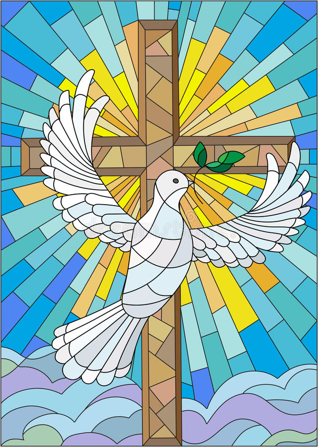 Abstract image in the stained glass style with cross and dove stock illustration