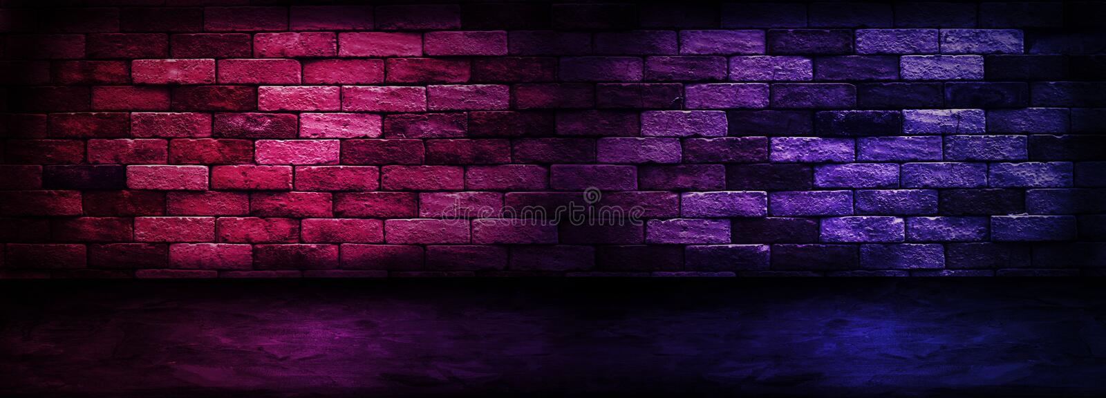 Studio dark room with lighting effect red and blue on brick wall gradient background for interior decoration. Abstract image of Studio dark room with lighting royalty free stock image