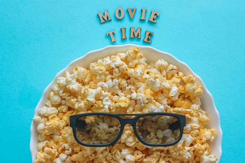Abstract image of viewer, 3D glasses and popcorn, text royalty free stock photos