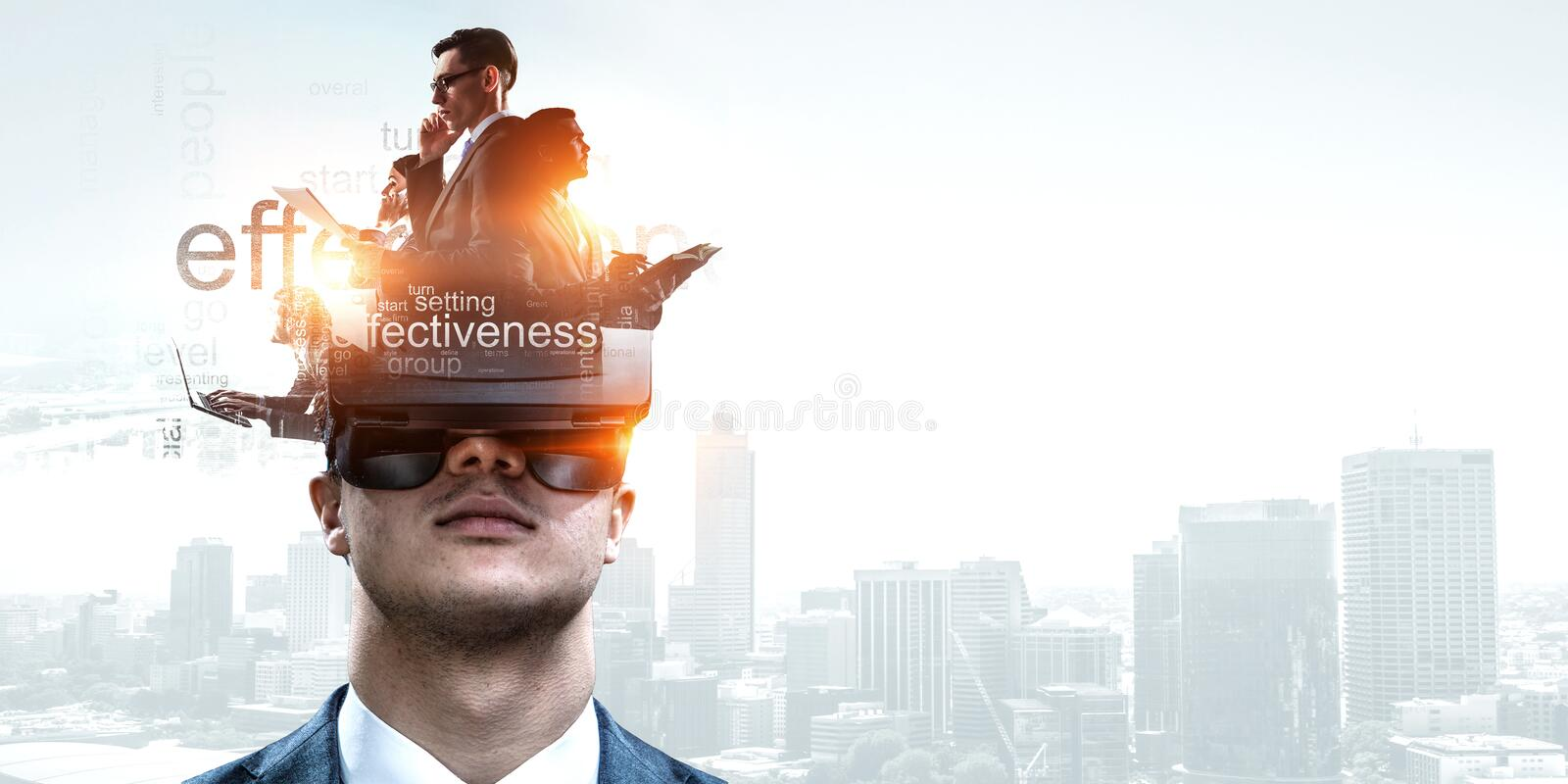 Abstract image of virtual reality experience, a man in VR glasses royalty free stock photo