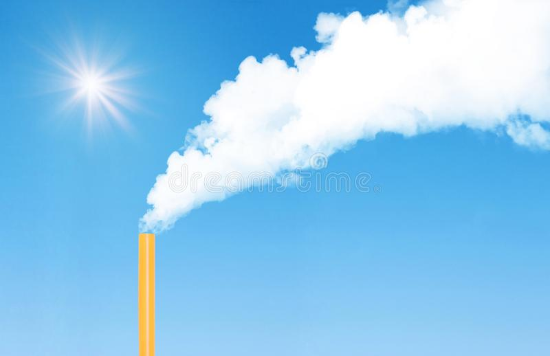 Abstract image of White smoke floating and emission from chimney that made from orange plastic straw with blue sky in background. Global Warming and Pollution stock images