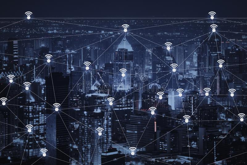 The abstract image of wireless network and wifi connection technology. Concept with bangkok city background at night in Thailand royalty free illustration