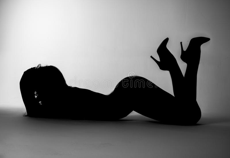 The abstract image of a woman. Foto studio flash stock photography