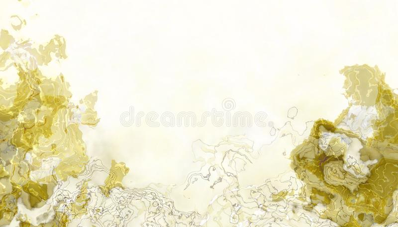 Abstract images from the beautiful yellow watercolor droplets presented in a exotic and fascinating way on a yellow. Background royalty free illustration
