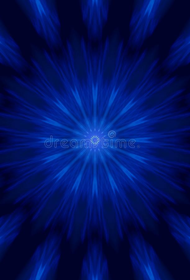 Abstract Imaginary Big Bang In Blue. Long Exposure Night Photography. Photo Blur And Focus Is As Intended. stock illustration