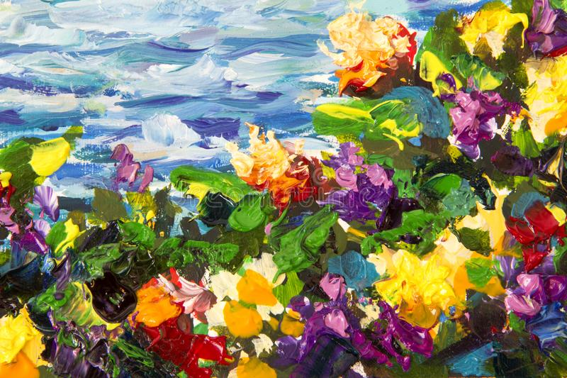 Oil painting and palette knife close-up. Yellow red violet flowers in a green grass against a background of blue sea waves. Fragme. Abstract impressionism floral stock photography