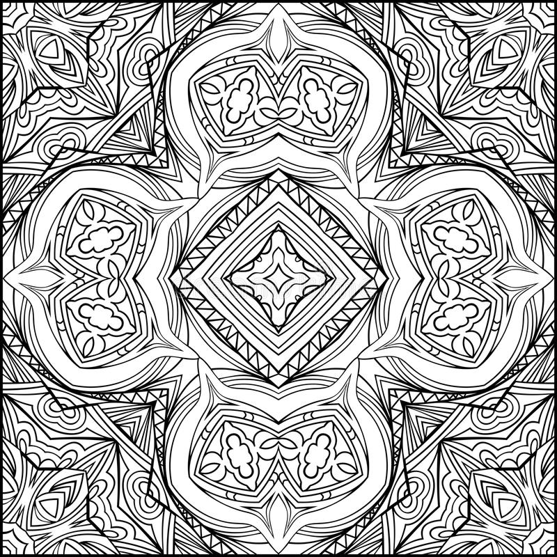 Abstract Indian Cross Black And White Ornament In Zen Style vector illustration