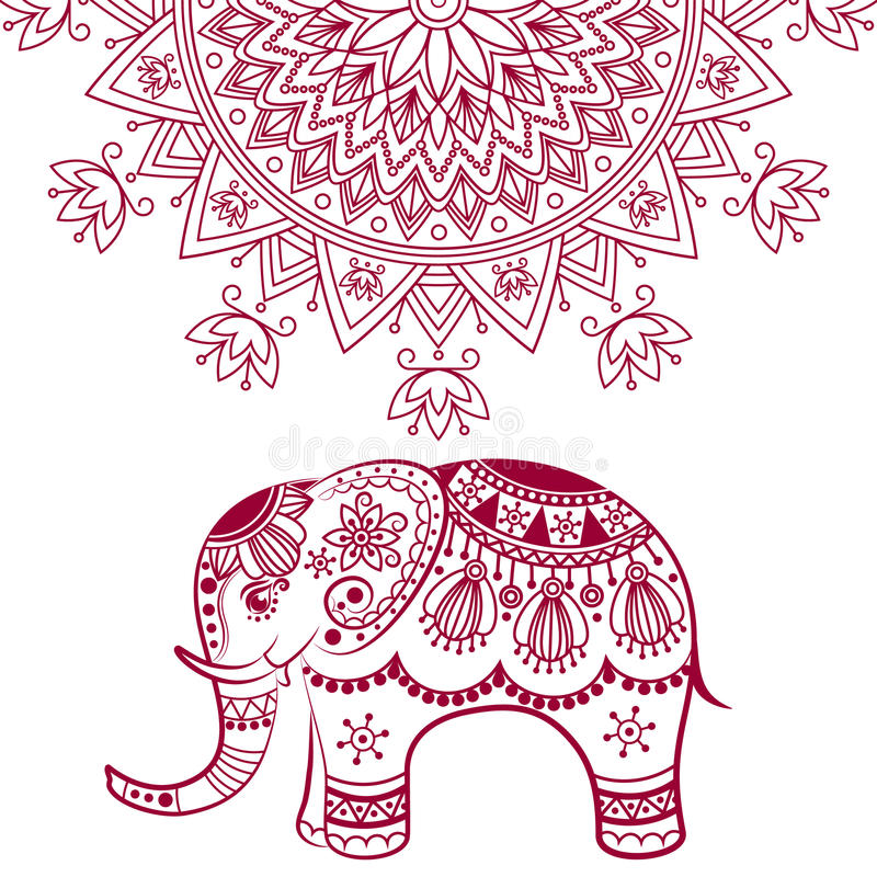 Abstract Indian elephant with mandala stock illustration