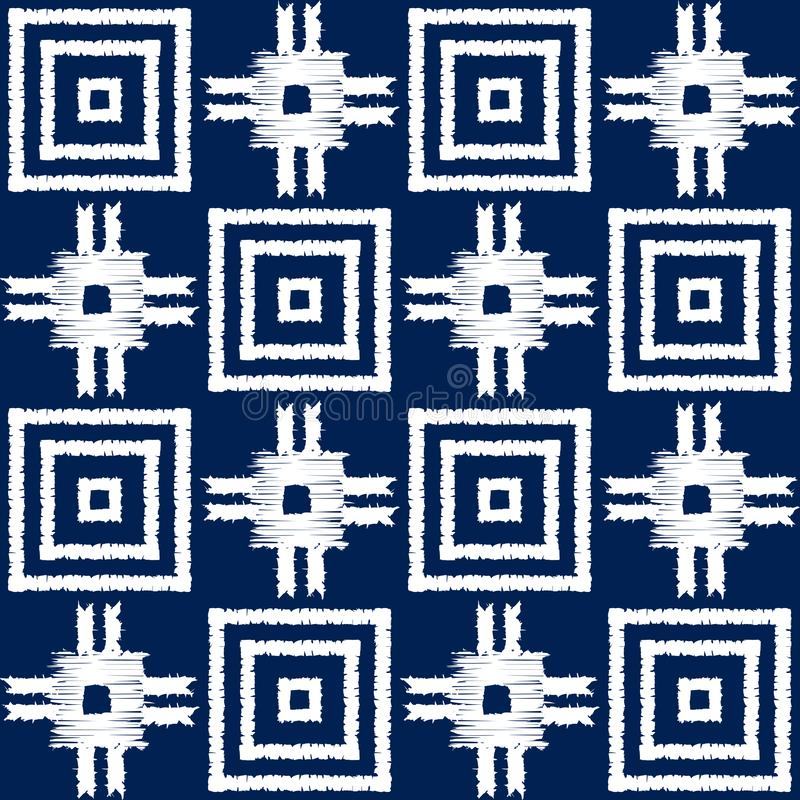 Abstract indigo shibori seamless vector pattern with ikat print of mosaic stock illustration