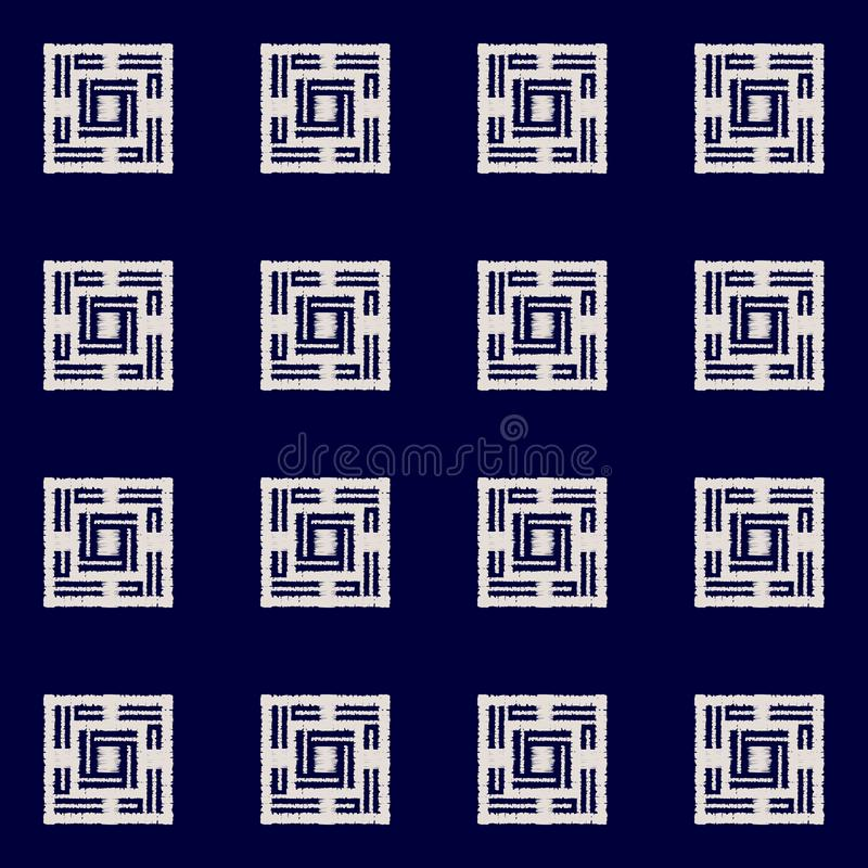 Abstract indigo shibori seamless vector pattern with ikat print of mosaic vector illustration