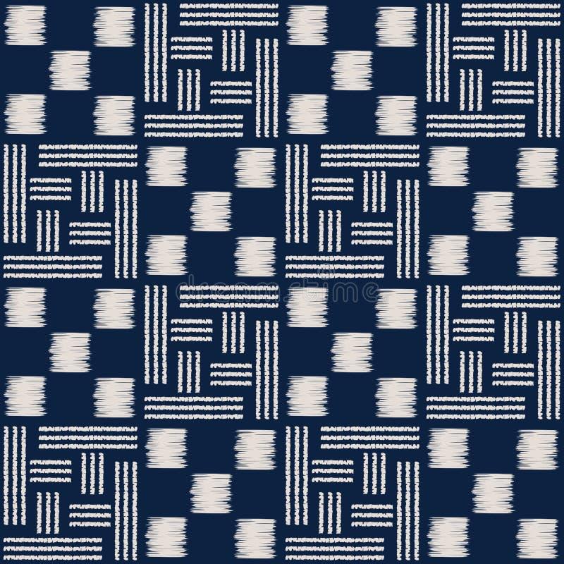 Abstract indigo shibori seamless vector pattern with ikat print of mosaic royalty free illustration