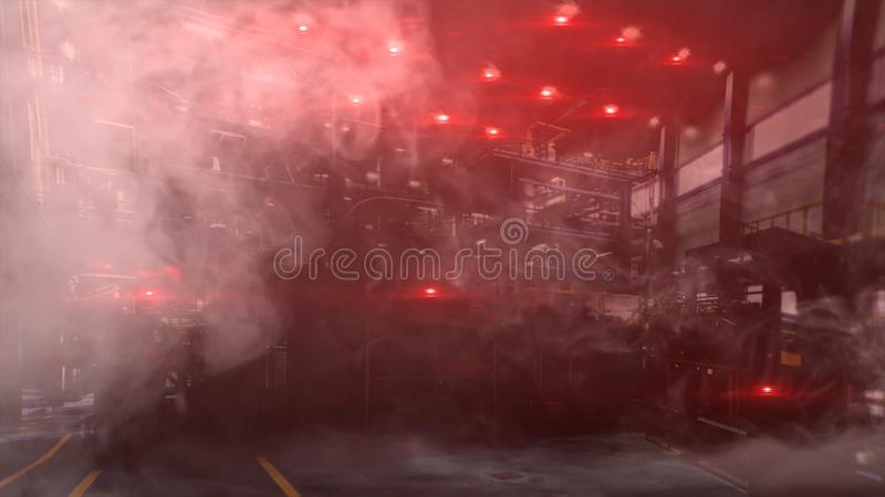 Abstract industrial factory shop with red lights turned on and the smoke, emergency situation. Work shop in unsafe vector illustration