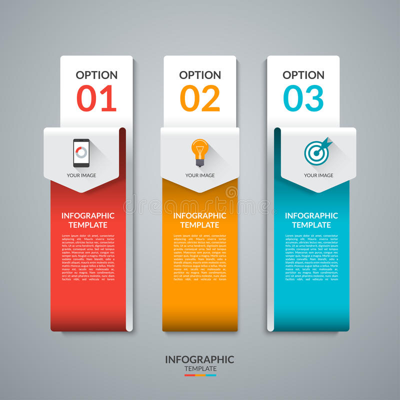 Abstract infographic malplaatje in de vorm van gebogen document pijlen vector illustratie