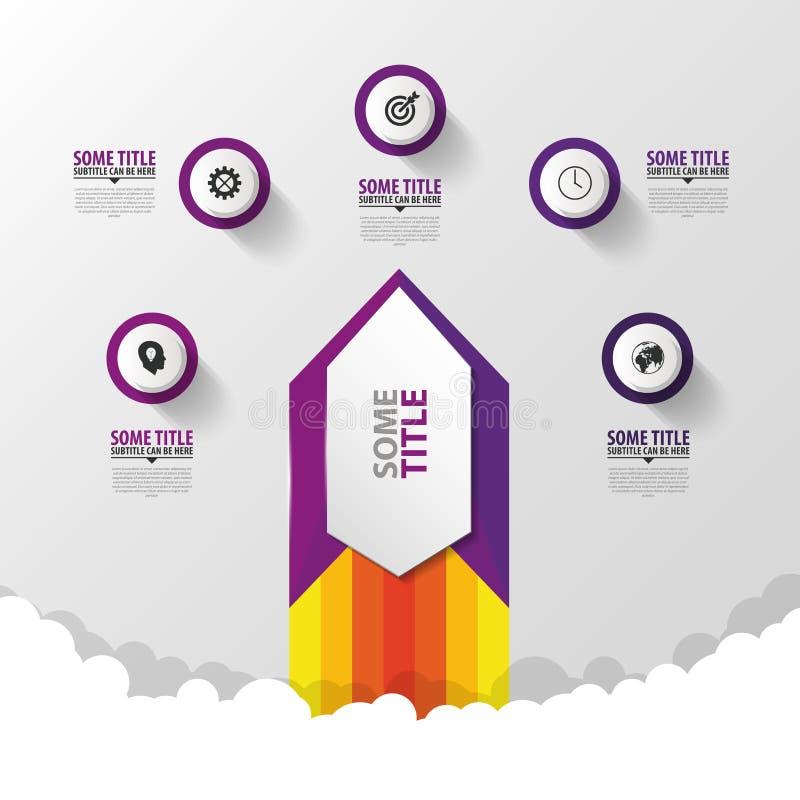 Abstract infographic malplaatje met raket Modern ontwerp Vector stock illustratie