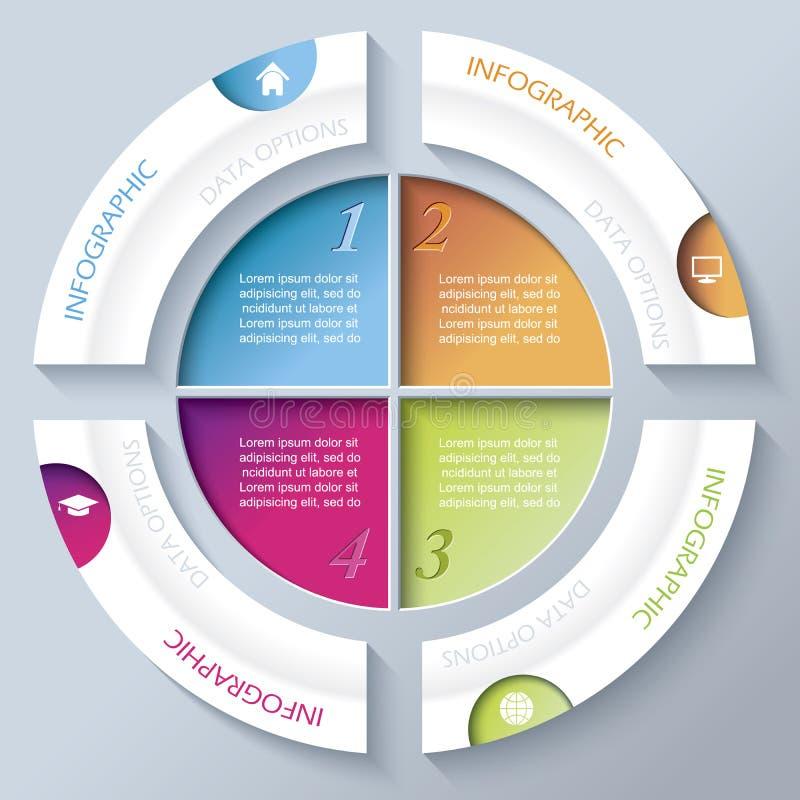 Abstract infographic ontwerp met cirkel en vier segmenten vector illustratie
