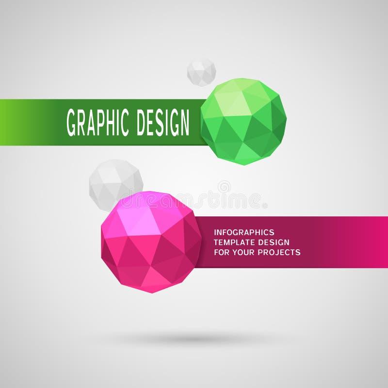 Abstract infographic ontwerp met twee sferische elementen royalty-vrije illustratie