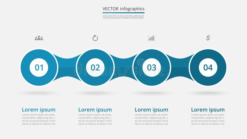 Vector infographic template. Abstract infographic template with 4 steps for success. Business circle slide with four options for brochure, diagram, workflow royalty free illustration