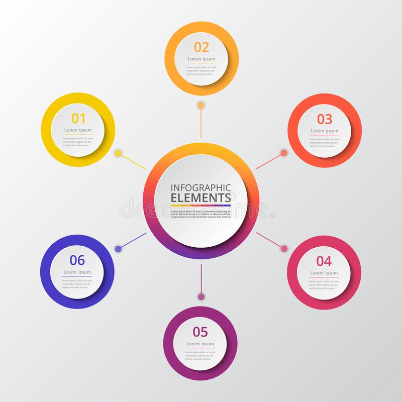 Vector infographic template. Abstract infographic template with 6 steps for success. Business circle template with six options for brochure, diagram, workflow stock illustration