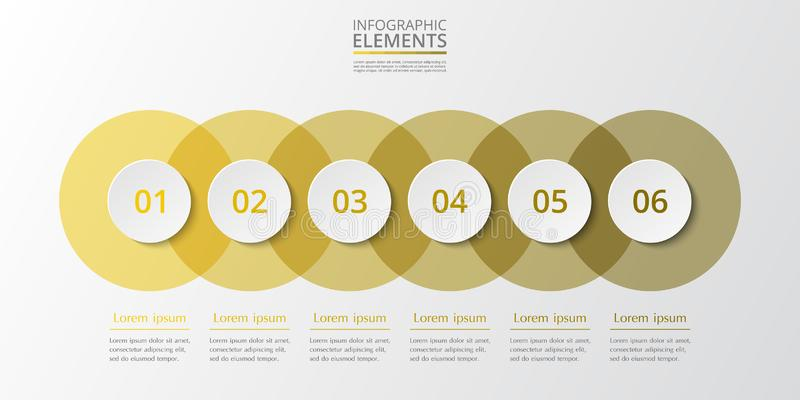 Vector infographic template. Abstract infographic template with 6 steps for success. Business circle template with six options for brochure, diagram, workflow royalty free illustration