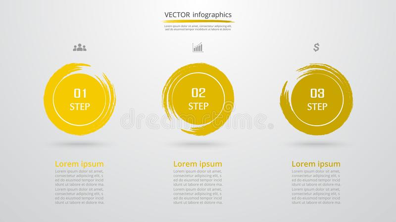 Vector infographic template. Abstract infographic template with 3 steps for success. Business template with three options for presentation, brochure, diagram royalty free illustration