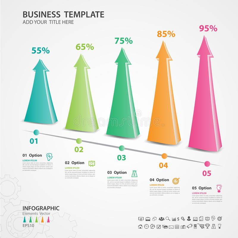 Abstract infographics number options template, chart, graph, timeline vector. Abstract infographics number options template, Vector illustration, 5 step arrow 3d stock illustration