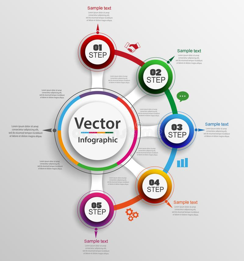Abstract infographics number options template with five steps. Can be used for workflow layout, diagram, business step options, banner, web design. Vector eps stock illustration