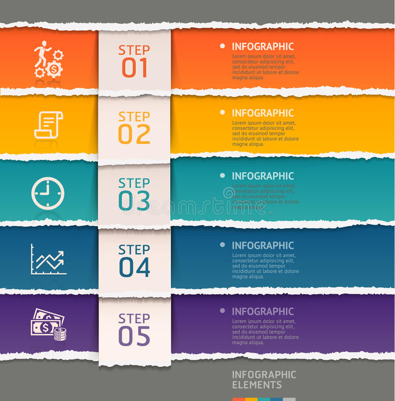 Abstract infographics template torn paper style. Vector illustration. can be used for workflow layout, diagram, number options, step up options, banner, web