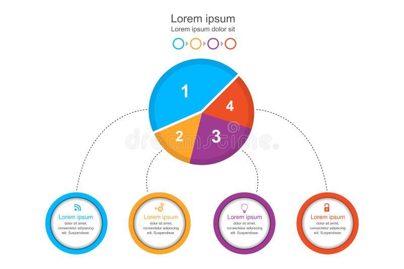 Abstract infographicsmalplaatje, het kleurrijke diagram van de cirkelgrafiek, bedrijfsconcepten infographic, vectorillustratie stock illustratie