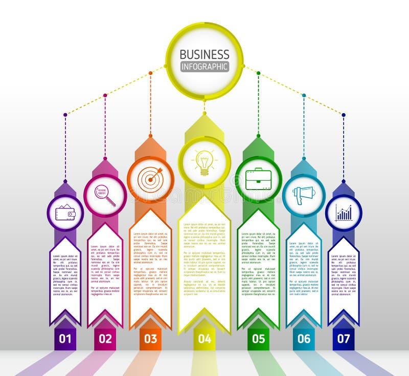 Abstract infographicsmalplaatje met pijlen Infographics zeven o royalty-vrije illustratie