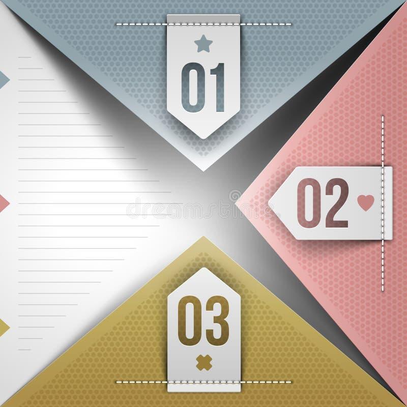 Abstract infographicsontwerp met genummerde elementen royalty-vrije illustratie