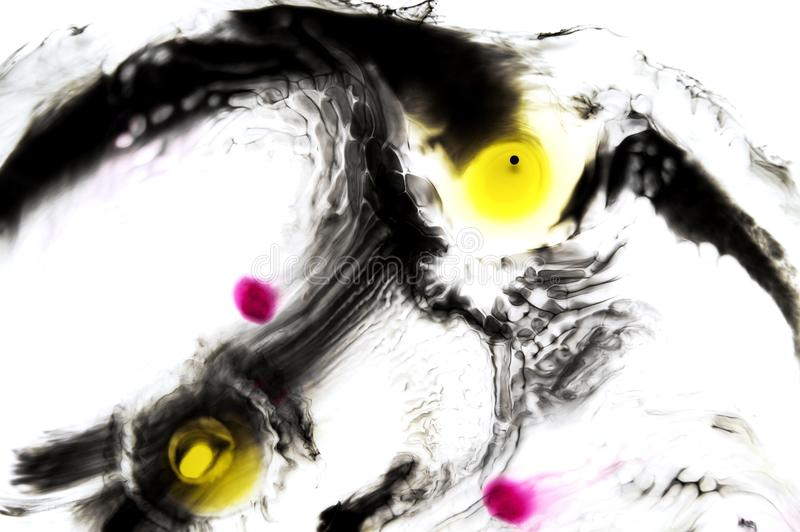 Abstract ink background. Moving liquid paint in water. Black thin circle with yellow and pink dots royalty free stock photography