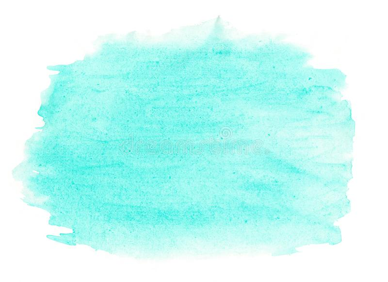 Abstract ink texture brush background turquoise green aquarel watercolor splash hand paint on white background. Abstract ink blue aquarel watercolor splash hand stock photos