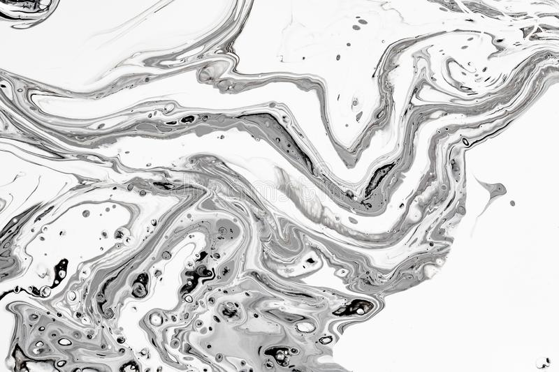 Abstract Background White Black Mineral Oil Paint Water Stock