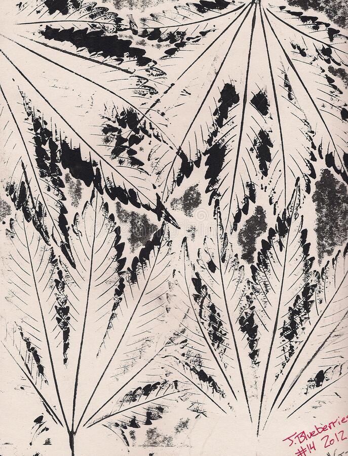 Abstract ink leaf drawing stock photography