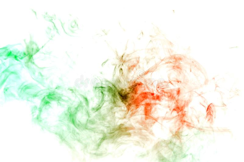 Abstract ink and smoke pattern in green and red on a white background. Print for clothes. Disease and viruses. Abstract wavy ink and smoke pattern in green and stock photos