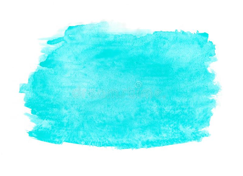 Abstract ink texture brush background turquoise green aquarel watercolor splash hand paint on white background. Abstract ink blue aquarel watercolor splash hand royalty free stock photography