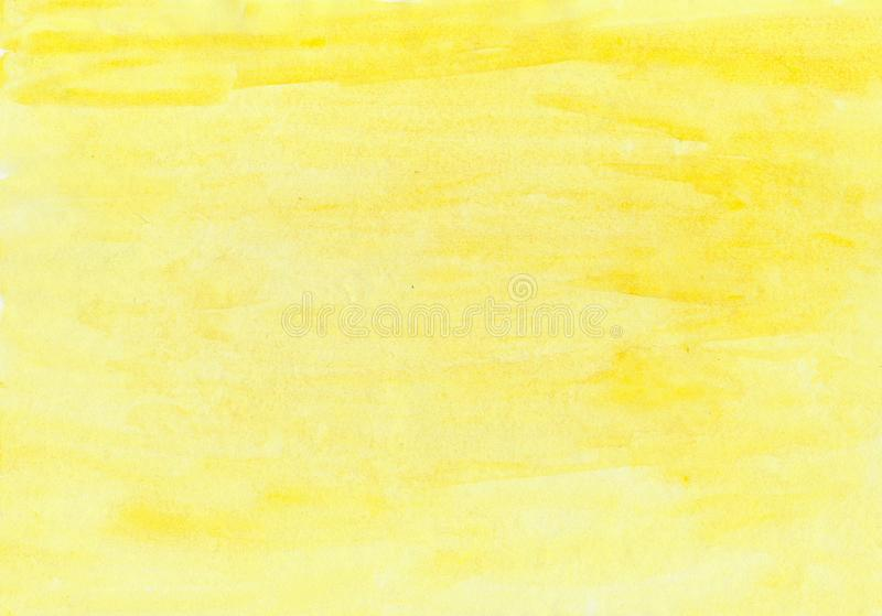 Abstract ink texture brush background yellow aquarel watercolor splash hand paint on white background. Abstract ink yellow aquarel watercolor splash hand paint royalty free stock images