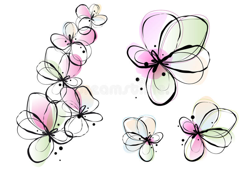 Abstract watercolor flowers, vector royalty free illustration