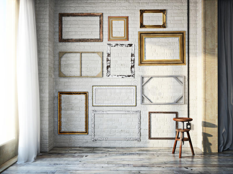 Abstract interior of assorted classic empty picture frames against a white brick wall with rustic hardwood floors stock photos