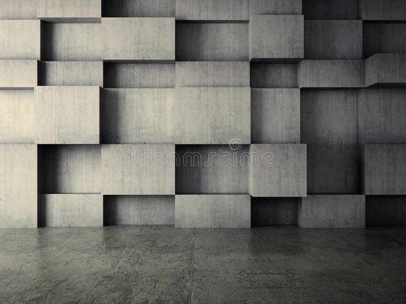 Abstract interior of concrete wall background stock image