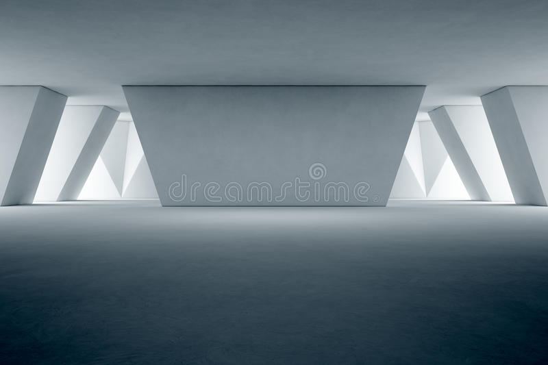 Abstract interior design of modern showroom with empty floor and concrete wall background royalty free stock photo