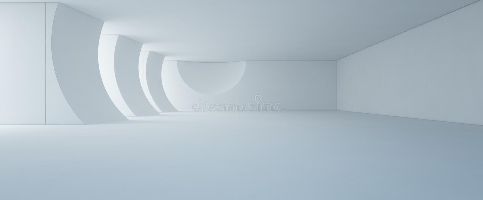 Abstract interior design of modern white showroom with empty floor and concrete wall background stock photos