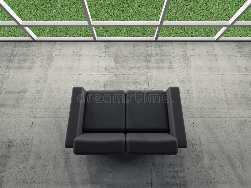 Abstract interior, room with sofa, grass outside. Abstract interior, concrete room with window and black leather sofa, green grass grow outside, 3d illustration vector illustration