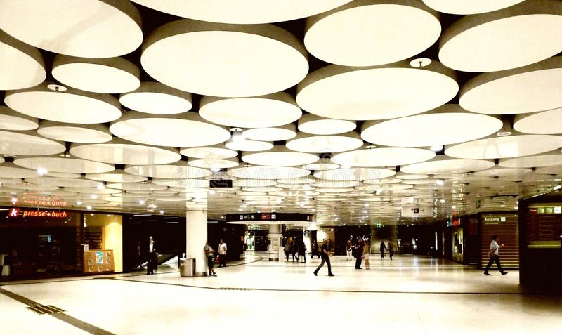 Abstract interior of metro station with circular ceiling decor elements. Abstract interior space of metro station with circular ceiling decorative elements in a stock images