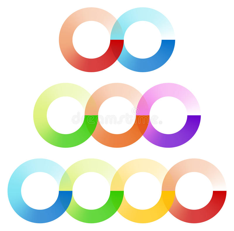 Abstract interlocking circles element set with 3 variation 2, 3 royalty free illustration