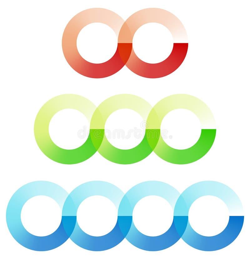 Abstract interlocking circles element set with 3 variation 2, 3 stock illustration