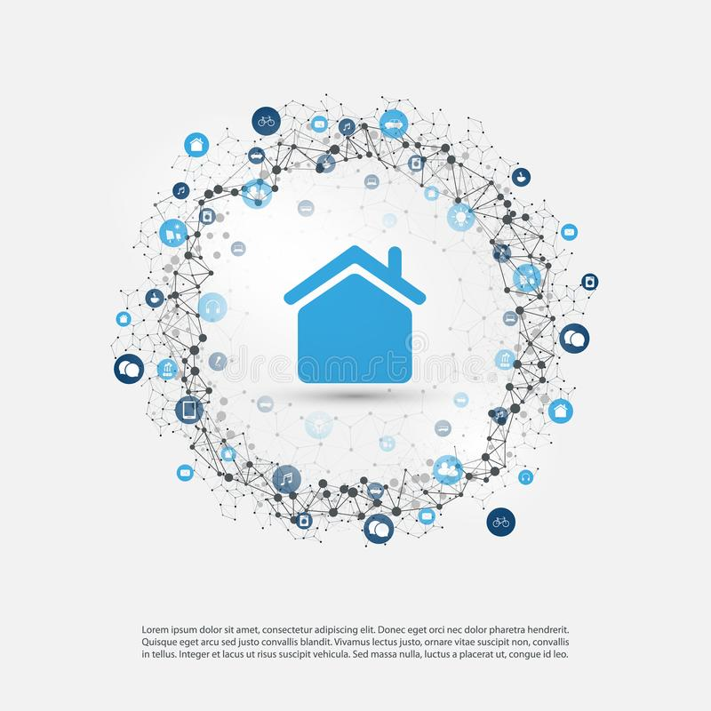Smart Home, Internet of Things or Cloud Computing Design Concept with Icons - Digital Network Connections, Technology Background stock illustration